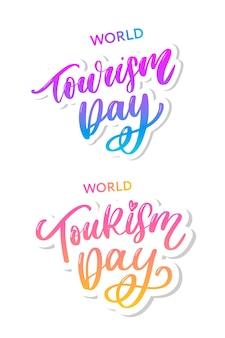 Wereldtoerisme dag hand belettering set