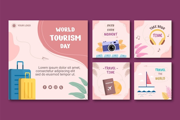 Wereldtoerisme dag instagram posts collectie