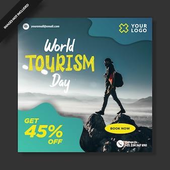 Wereldtoerisme dag instagram-sjabloon
