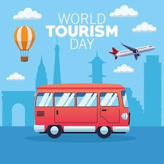 Wereldtoerisme dag kaart met busje en vliegtuig vector illustratie ontwerp