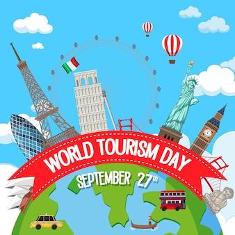 Wereldtoerisme dag logo met beroemde toeristische oriëntatiepunten elementen