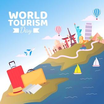Wereldtoerisme dag viering plat ontwerp