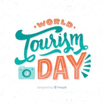 Wereldtoerismedag met plat ontwerp