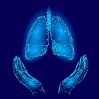 Wereldtuberculose dag poster menselijke longen in handen blauwe achtergrond
