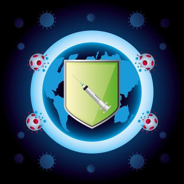 Wereldvaccin coronavirus schild spuit bescherming illustratie