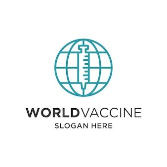 Wereldvaccin met injectie globe logo vector sjabloon