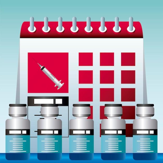 Wereldvaccin, plan tijd vaccineren bescherming tegen illustratie