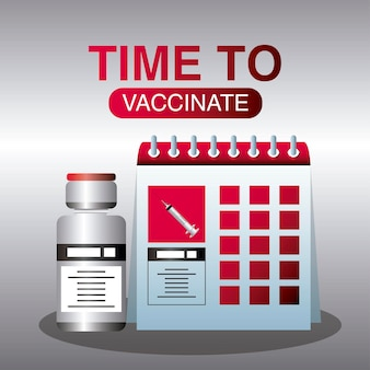 Wereldvaccin, tijd om te vaccineren schema bescherming tegen illustratie