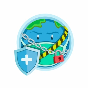 Wereldvergrendelingssymbool, earth planet met vergrendelde ketting, kruislijn met schild tegen beschermingsvirus. cartoon illustratie op witte achtergrond