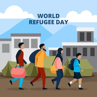 Wereldvluchtelingendag geïllustreerd thema