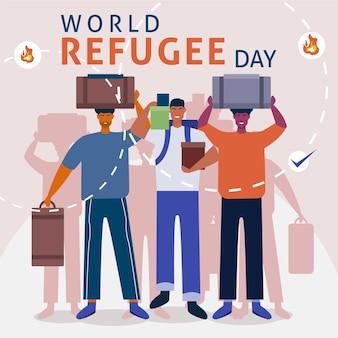 Wereldvluchtelingendag geïllustreerd