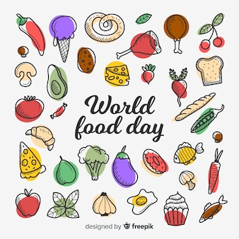 Wereldvoedsel dag concept in plat ontwerp
