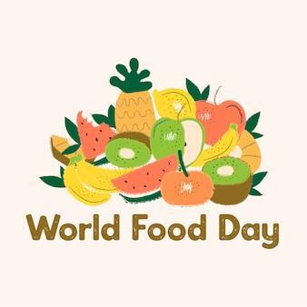 Wereldvoedsel dag concept met hand getrokken achtergrond