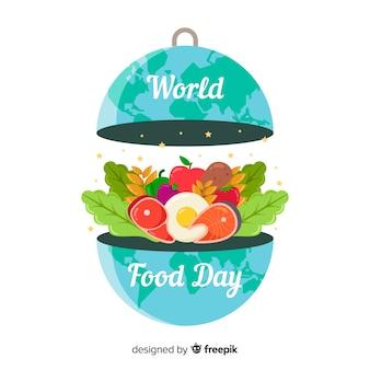Wereldvoedsel dag concept met platte ontwerp achtergrond
