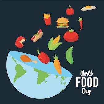 Wereldvoedseldag belettering poster met aarde planeet half en voedzaam voedsel illustratie ontwerp