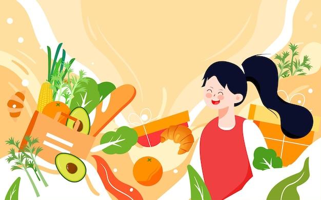 Wereldvoedseldag gezond eten illustratie groene poster voor voedselveiligheid