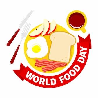 Wereldvoedseldag illustratie. ontbijt met brood, gebakken ei, spek, appel en koffie
