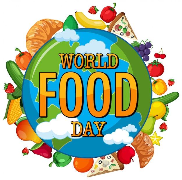 Wereldvoedseldag-logo op wereldbol met voedselthema