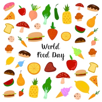 Wereldvoedseldag met kleurrijke fruit, vlees en groenten elementen