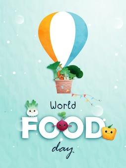 Wereldvoedseldag met verschillende soorten voedsel, fruit en groenten.