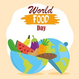 Wereldvoedseldag, planeet vol fruit, groenten en brood, gezonde levensstijl.