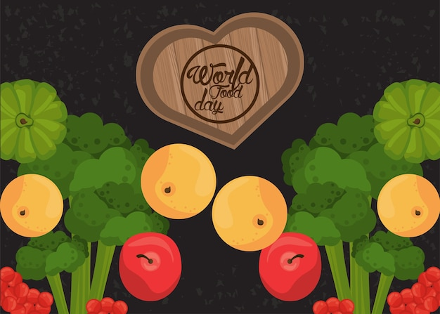 Wereldvoedseldag poster met groenten en houten hart in zwart afbeelding ontwerp