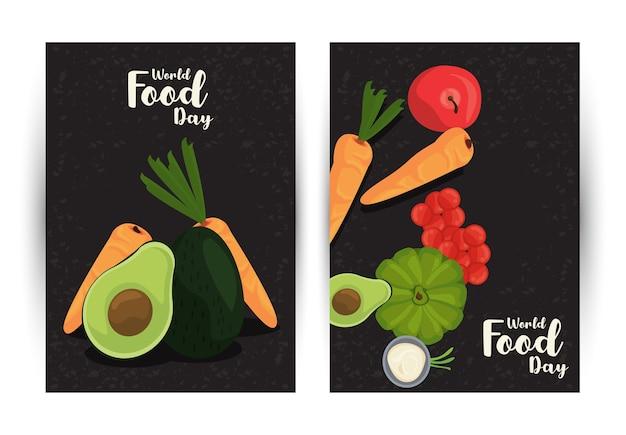 Wereldvoedseldag poster met groenten in zwart-wit afbeelding ontwerp