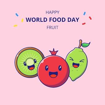 Wereldvoedseldag schattige fruit stripfiguren. set van granaatappel, kiwi en limoen mascotte cartoon.