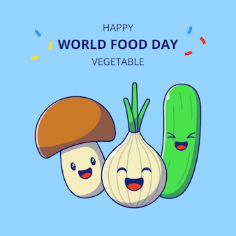 Wereldvoedseldag schattige plantaardige stripfiguren. set van bruine paddestoel, knoflook en komkommer mascotte