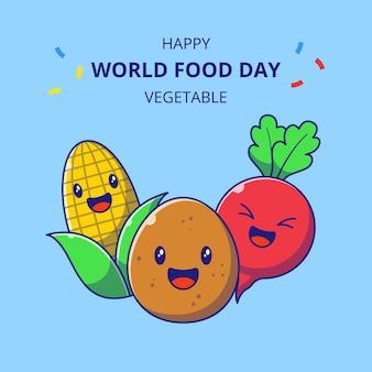 Wereldvoedseldag schattige plantaardige stripfiguren. set van maïs, aardappel en radijs mascotte.