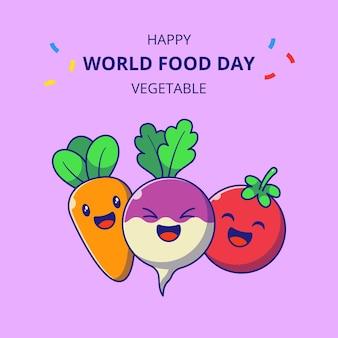 Wereldvoedseldag schattige plantaardige stripfiguren. set van raap, wortel en tomaat mascotte.