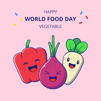 Wereldvoedseldag schattige plantaardige stripfiguren. set van rode paprika, ui en pastinaak mascotte.