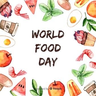 Wereldvoedseldagtekst omringd door voedsel
