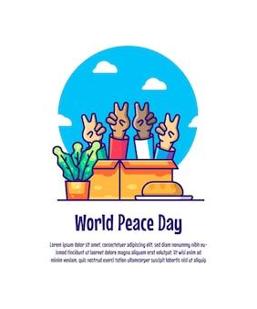 Wereldvredesdag cartoon vectorillustraties. wereldvredesdag pictogramconcept geïsoleerd premium vector Premium Vector
