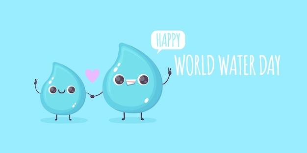 Wereldwaterdag banner met schattige waterdruppel
