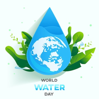 Wereldwaterdag witte achtergrond, wenskaart of poster voor campagne water besparen