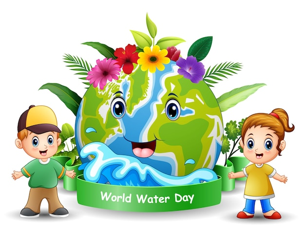 Wereldwaterdagontwerp met gelukkige kinderen staan