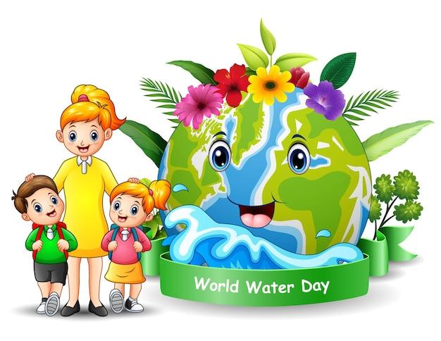 Wereldwaterdagontwerp met gelukkige moeder en kinderen