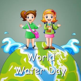 Wereldwaterdagontwerp met twee schoolmeisjes op aarde