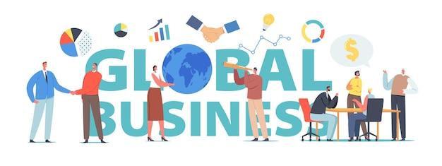Wereldwijd bedrijfsconcept. succesvol financieel partnerschap, loopbaangroei. tekens handdruk, groeiende pijlgrafieken, man met spyglass poster, banner of flyer. cartoon mensen vectorillustratie