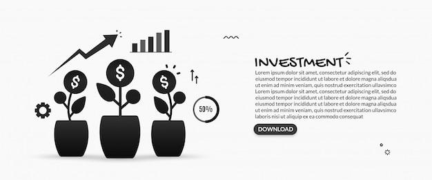 Wereldwijd bedrijfsinvesteringenconcept, illustratie van rendement op investering