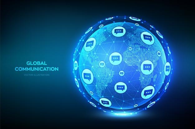 Wereldwijd communicatieconcept. wereldkaartpunt en lijnsamenstelling. planet earth globe met dialoog tekstballonnen pictogrammen.