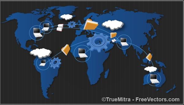 Wereldwijd delen van gegevens begrip achtergronden vector set