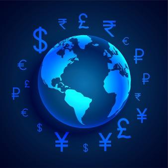 Wereldwijd digitaal geldoverdracht conceptontwerp