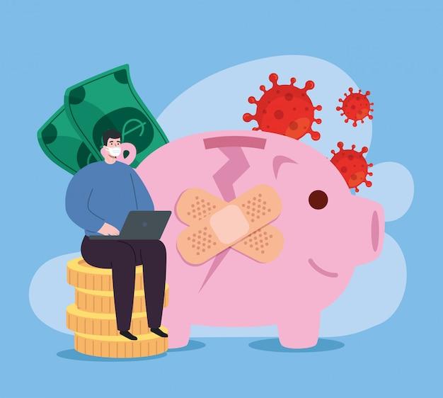 Wereldwijd financieel herstel van de markt na covid 19, man met spaarvarken en iconen