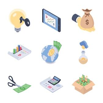 Wereldwijd, fondsenwerving en financiële trends isometrische vectoren pack