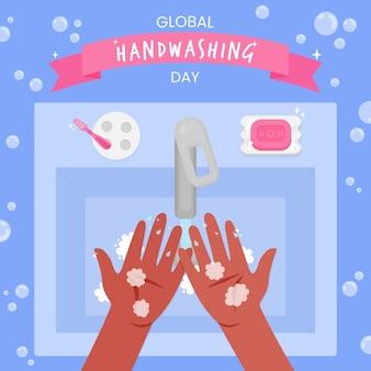 Wereldwijd handwasdag evenement concept