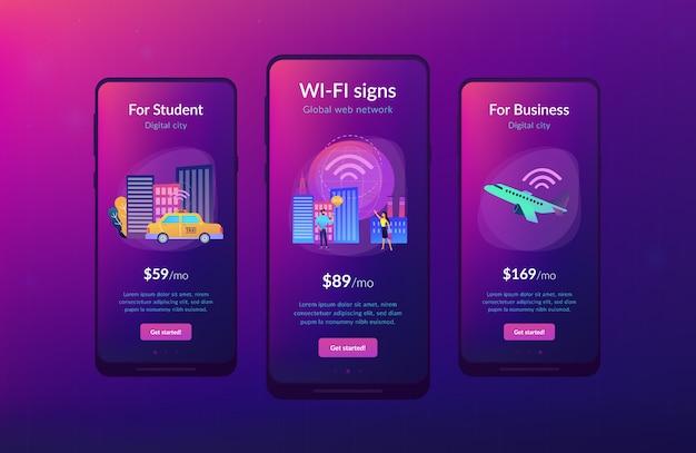 Wereldwijd internet van dingen slimme stad app interface sjabloon
