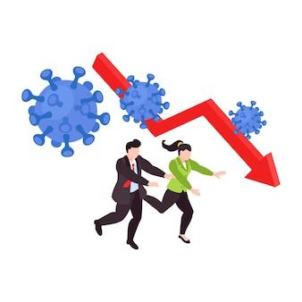 Wereldwijd isometrisch concept voor financiële crisis met mensen die in paniek rondlopen met coronavirusbacteriën en vallende pijl