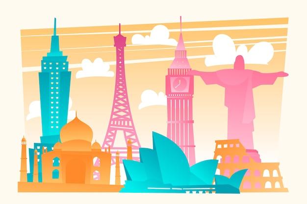 Wereldwijd kleurrijke skyline van bezienswaardigheden